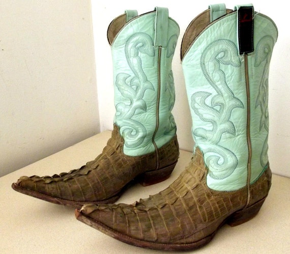 Light Turquoise Blue Leather and alligator super pointy toe cowboy boots