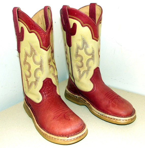 Super Comfortable Double H brand cowboy boots in red and butter cream colored leather with cactus design