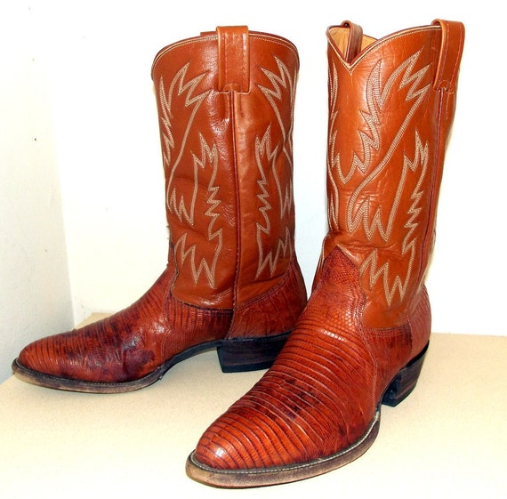 Brown leather Nocona cowboy boots with lizard foot size 10.5 D or cowgirl size 12