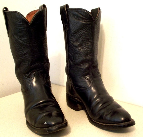Rockabilly style Black Leather Western cowboy boots size 7.5 EE or cowgirl size 9 wide width