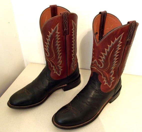 lucchese brand cowboy boots two tone brown and black with