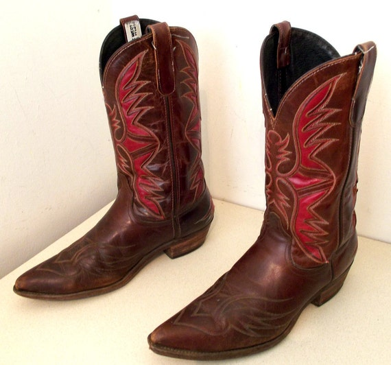 Awesome Brown Leather Cowgirl boots with dark red inlay design size 10 M