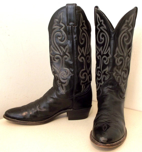 Justin Brand Black Leather Cowboy Boots With White Stitching