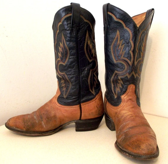 Two tone blue and tan Broken in Tony Lama cowboy boots size 9 D or cowgirl size 10.5