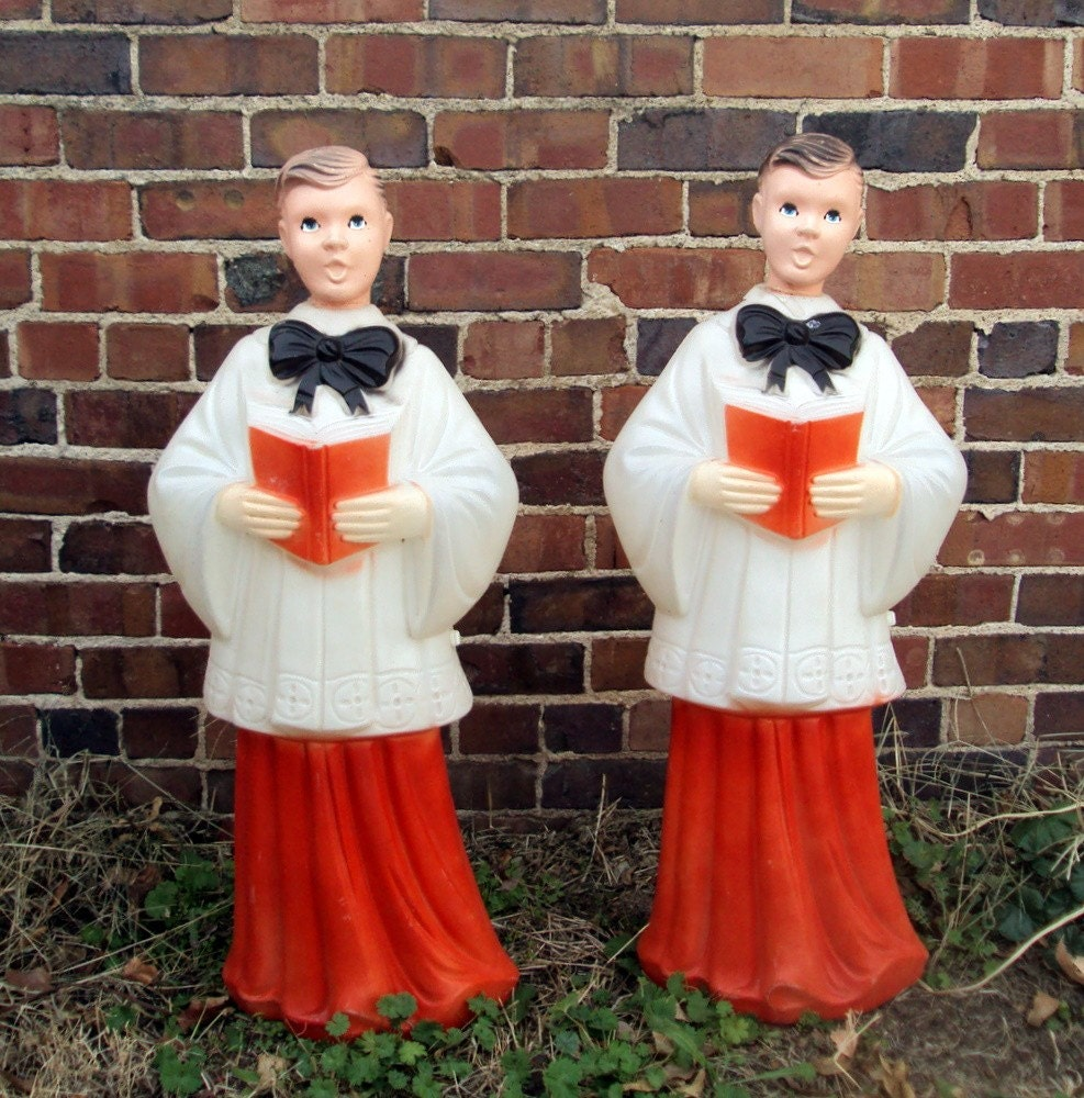 Vintage Blow Mold Christmas Carolers Christmas Lawn Decor: Vintage Blow Mold Christmas Choir Boys Set Of 2 And They WORK