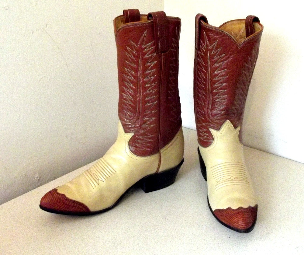 Vintage Tony Lama Cowboy Boots With Reptile By