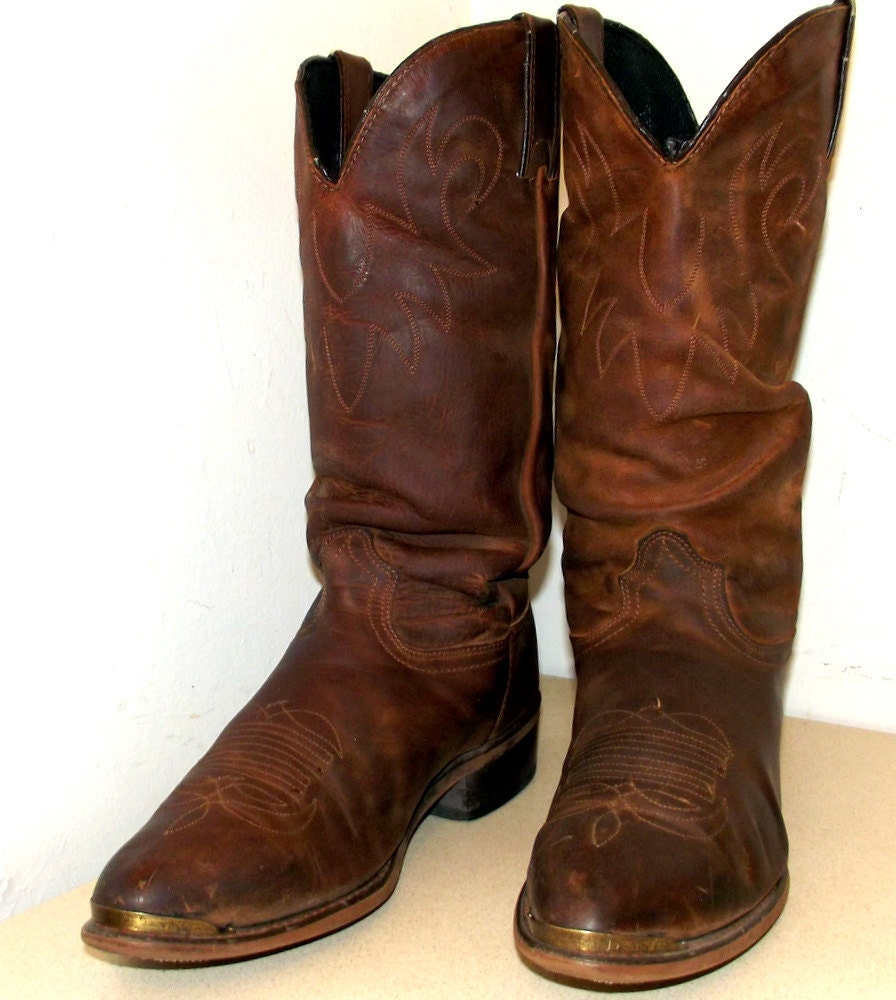 awesome vintage brown leather durango cowboy boots size 10 d