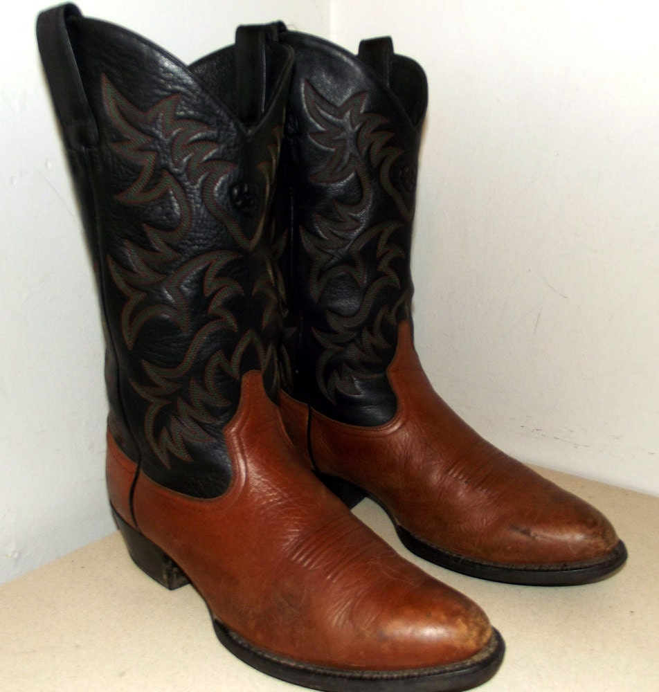 ariat brand cowboy boots black and brown size 10 d or