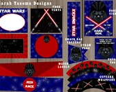 Star Wars Birthday Party Jedi Darth Vader Complete Collection Banner, Party Signs, Favor Tags & More - Customized Printable