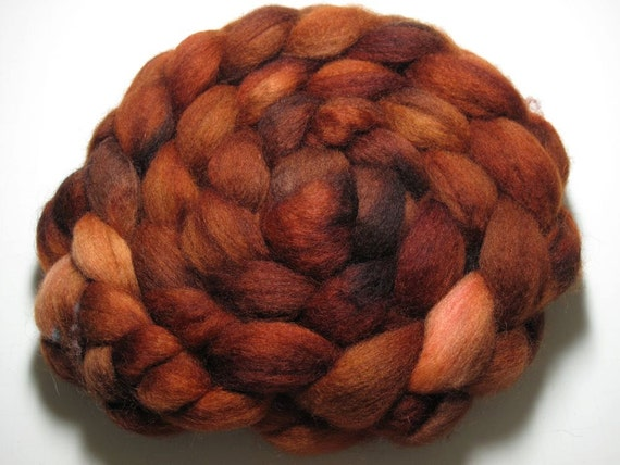 Blue Faced Leicester Combed TOP 5 oz  - Burnt Orange 1