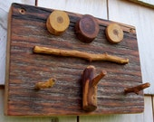 Reclaimed Wood key rack, Rustic plum and Barnwood  hanger