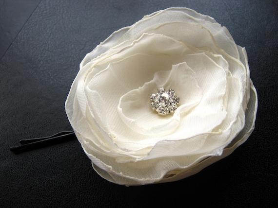 Handmade Ivory Chiffon Flower Hair Pin