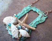 Sea Maid's Dowry  sea shell,starfish patina necklace