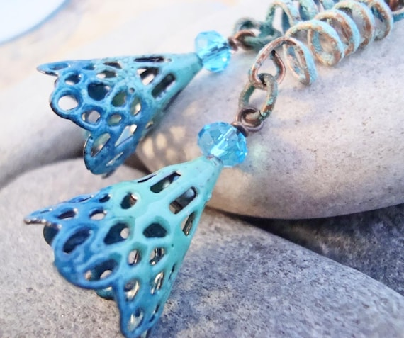 Turquoise Ombre torch fired glass enamel earrings