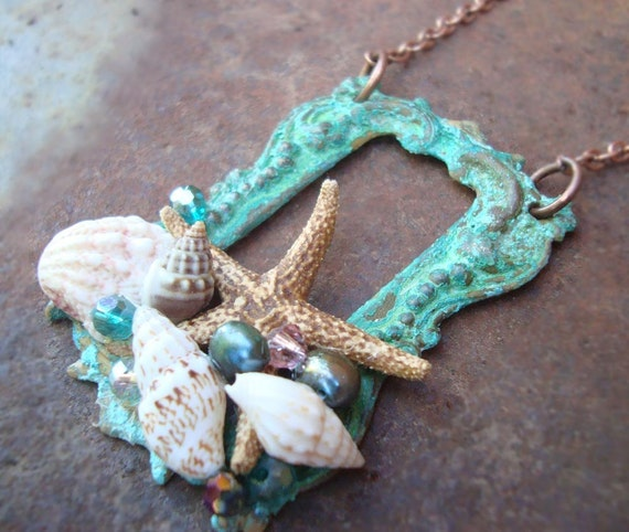 Sea Maid's Dowry  sea shell,starfish patina necklace