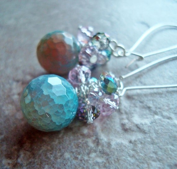 Blue Ice agate cluster earrings