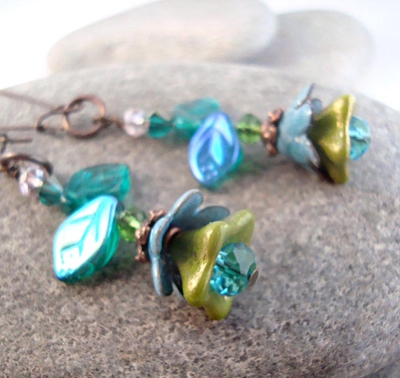 Torch Fired glass enamel Blooms in blue and olive