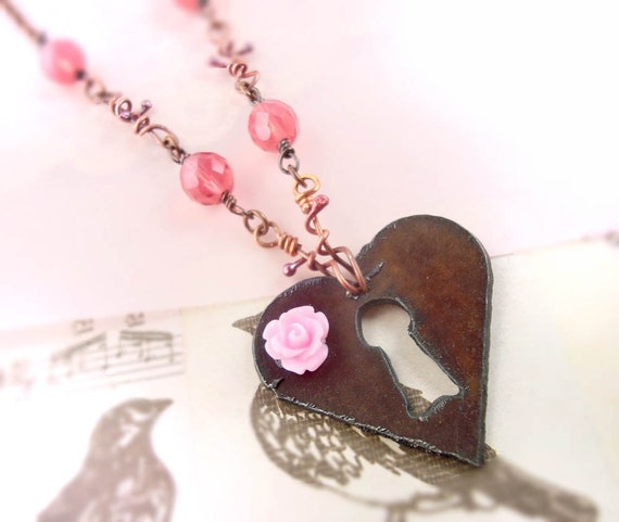 Roses and Rust  heart escutcheon wire wrapped necklace
