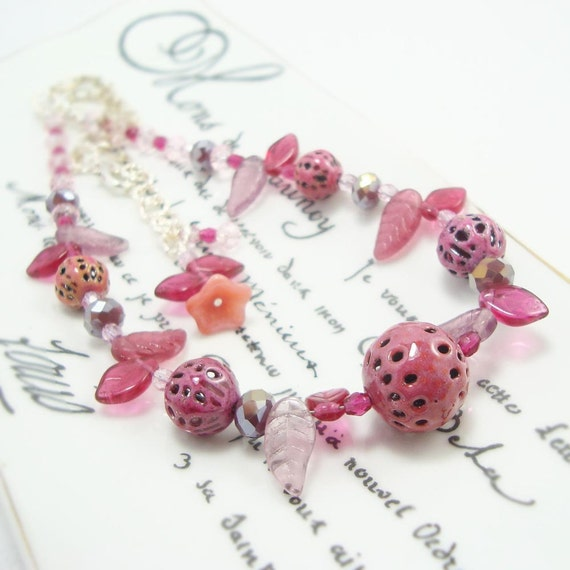 Glass enamel torch fired rose pink necklace