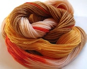 Yarn, sock-weight, wool, washable, peach, orange, brown, soft, baby