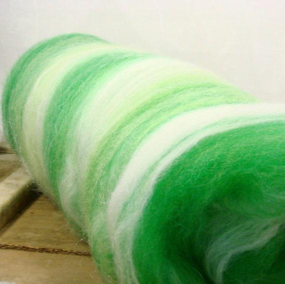 Wool Batt for Spinning, wool, firestar, alpaca,  green 2.1 oz.--TDF Fresh