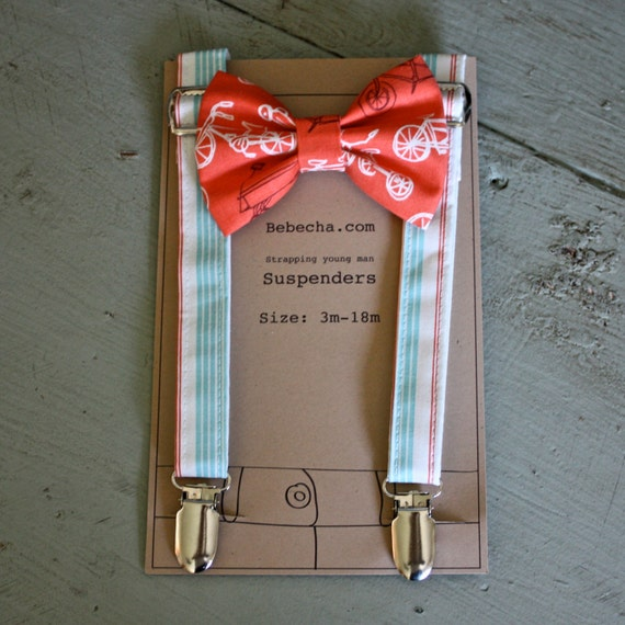 Boys suspenders and bow tie set - Coral red bikes and aqua