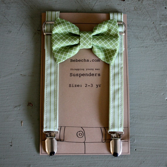 Boys Suspenders and bow tie set - pea green sorbet striped -Size 2-3 year