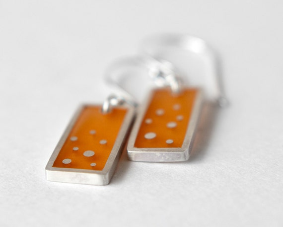 That Feeling Earrings orange resin and sterling silver, dots
