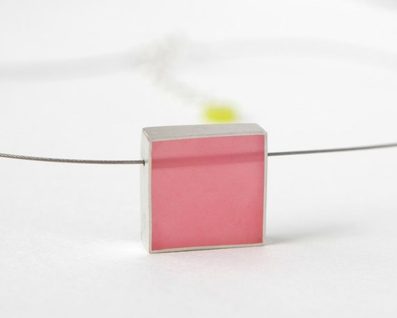 Cube necklace in pink resin and sterling silver, square, bold, Valentine's Day gift for her