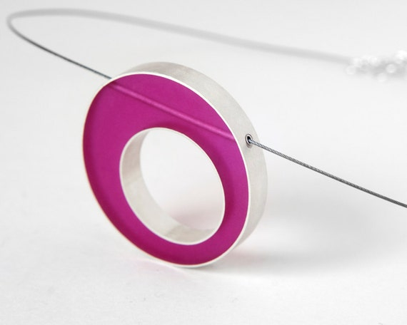 Sometimes Necklace sterling silver and fuchsia resin on nylon coated stainless steal cable - Mother's Day