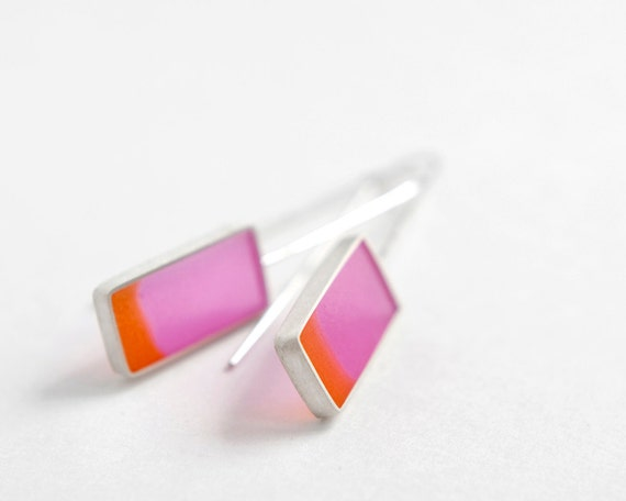 Fix You Earrings - sterling silver with fuchsia and orange resin Mother's Day