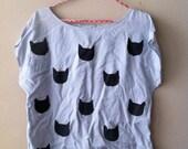 Repurposed Light Blue Cat Print Shirt