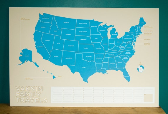 Personalized USA Travel Map
