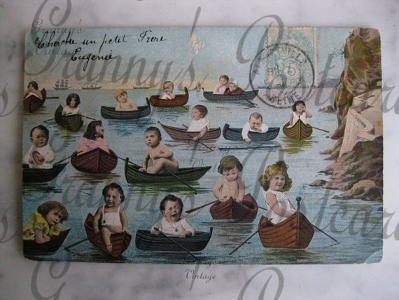 Original Antique French postcard. Multiple babies.In small boats. Collectors item. You must see. Early 1900