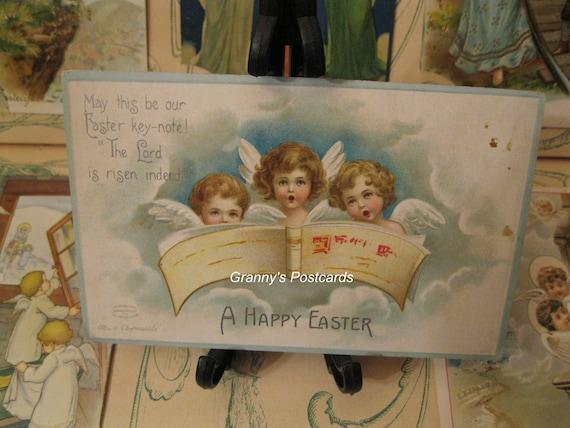 Angel Postcard. Antique Signed by Ellen H Clapsaddle. A Happy Easter.