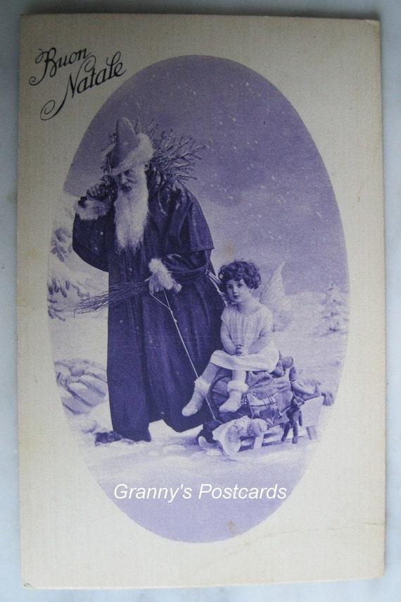 Vintage.Angel Postcard. Antique . Christmas. Santa. Little Angel on Sledge. Toys 1935