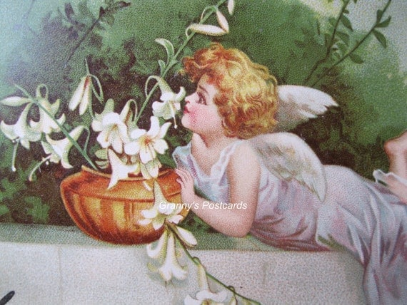 Antique. Vintage. Angel Postcard. Art Nouveau. Little Angel with Flowers. 1901
