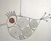 Wire Bird Sculpture With Orange Eye