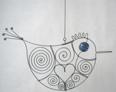 Wire Bird Hanging Sculpture For Your Window/ Love Is Blue