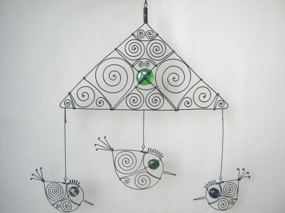 Wire Mobile With Three Birds
