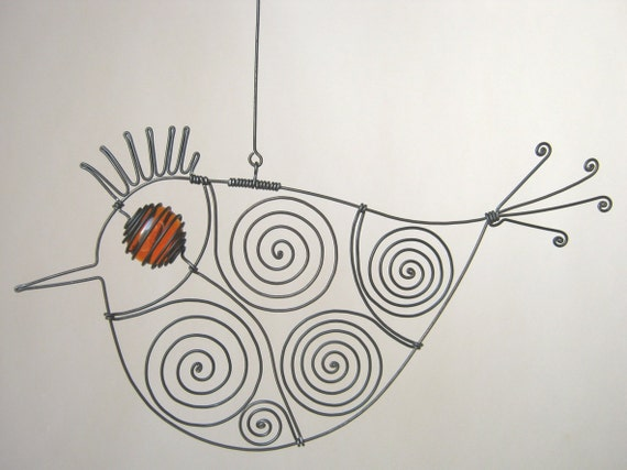 Wire Bird Sculpture With Orange Eye