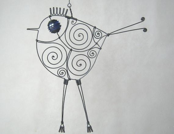 Wire Bird In Cobalt Blue