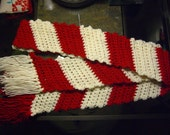 Peppermint Candy Cane crochet scarf w\/ fringe