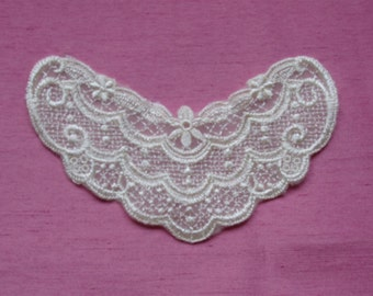 "Sweet Ivory Victorian Lace Neckline Applique roughly 3"" x 4 1/2"""