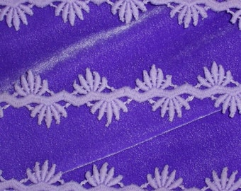 """Unusual Vintage Lavender Lace Trim 1"""" x 2 yards (or BTY) Made in England"""