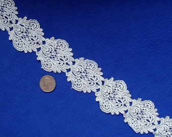 """Vintage Venice Lace Pale Ice Blue Soft Elegant Bridal Formal 2"""" wide BTY"""