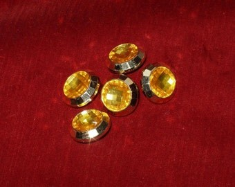 5 Acrylic Buttons, Faux Citrene Jewel with Gold Setting 3/4 inches wide Lightweight