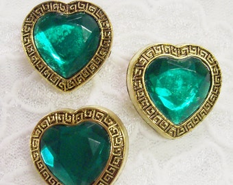 """3 Acrylic Buttons, Emerald Green Heart Shaped Jewel with Gold Setting 7/8"""" wide Lightweight"""