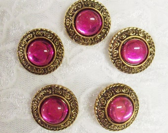 """5 Acrylic Buttons, Round Pink Jewel with Gold Setting 3/4"""" diameter Lightweight"""