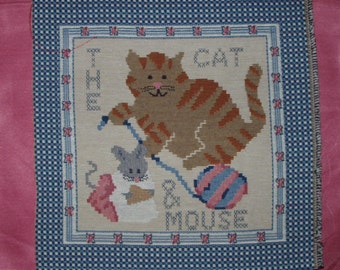 Two Tapestry Panels The Cat and Mouse 13 inches square